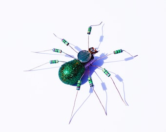 Green Spider Framed Wall Art | Recycled Sculpture