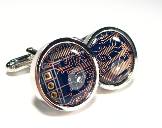 Featured listing image: Circuit Board Cufflinks, Blue, Geek Jewelry, Men's Gift, Computer Chip, Electronic, Accessory, Eco, Recycled, Motherboard.