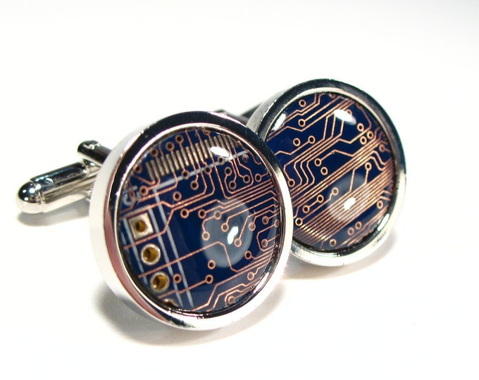 Featured listing image: Circuit Board Cufflinks, Blue, Copper, Geek Jewelry, Men's Gift, Computer Chip, Electronic, Accessory, Eco, Recycled, Motherboard.
