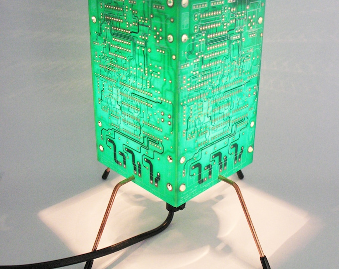 Featured listing image: Circuit Board Light, PCB Table Lamp, Green light, Yellow Light, Red Light, Blue light, Geek Light, Recycled Light, Recycled Table Lamp