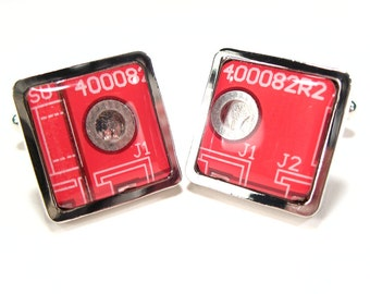 Circuit Board Cufflinks Christmas Gift For Him Bright Red Square Men's Gift Electronic PCB Accessory Eco Recycled Motherboard