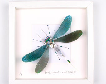 Green Damselfly Framed Wall Art | Recycled Sculpture