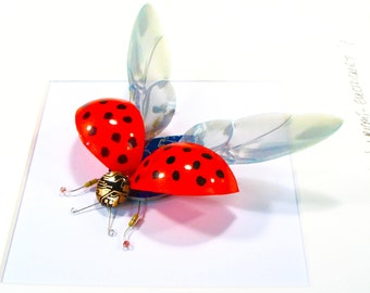 Ladybird Framed Wall Art | Recycled Sculpture