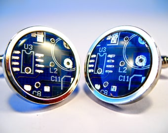 Circuit Board Cufflinks Blue Round Geek Jewelry Men's Gift Computer Chip Electronic PCB Accessory Eco Recycled  Gift For Him