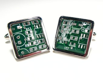 Square Dark Green Circuit Board Cufflinks Geek Cufflinks Men's Gift  Gift For Him Electronic Accessory Eco Recycled Motherboard
