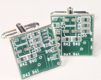 Circuit Board Cufflinks, Green, Geek Jewelry, Men's Gift, Computer Chip, Electronic, Accessory, Eco, Recycled, Motherboard.