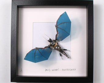 Blue Bat Framed Wall Art | Recycled Sculpture