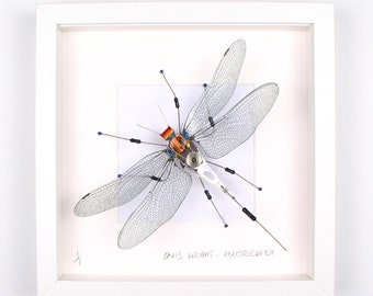 Silver Grey Dragonfly Framed Wall Art | Recycled Sculpture