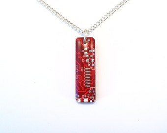 Circuit Board Necklace Red Pendant Recycled Jewelry PCB Tear Drop Jewellery Green Geek Nerd Motherboard Computer Chip Gift for Her Techie
