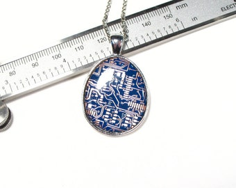 Blue Circuit Board Necklace, Circuit Board Jewelry, Techie Jewellery, Computer Chip Necklace, Geek Gift, Engineer Gift, Gift for Her.