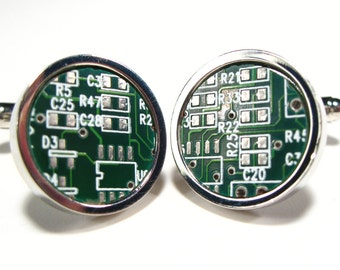 Circuit Board Cufflinks Dark Green  Gift For Him Geek Jewelry Men's Gift Computer Electronic PCB Accessory Eco Recycled Motherboard