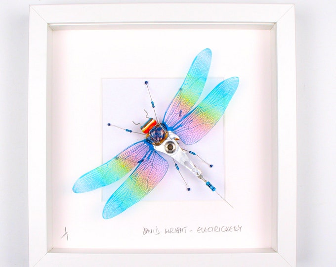Featured listing image: Iridescent Dragonfly Framed Wall Art | Recycled Sculpture