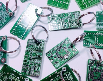 Circuit Board Keyring, Recycled PCB Keychain, Upcycled Key fob, Computer Geeky Gift, Eco Friendly Gift,