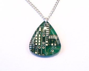 Recycled Green Circuit Board Pendant - Geek Necklace - Computer Pendant Steampunk Art