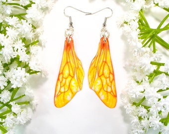 Golden honey bee wing earrings, Inspired by nature, Christmas gift, bug earrings, handmade jewellery, drop earrings, accessories for her,