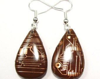 Circuit Board Earrings Copper Teardrop Recycled Jewelry PCB Techie Silver Jewellery Geek Motherboard Computer Chip Gift for Her Techie