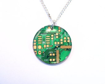 Recycled Round Green Circuit Board Pendant - Geek Necklace - Computer Pendant -
