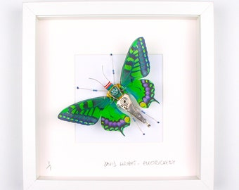 Green & Blue Butterfly Framed Wall Art | Recycled Sculpture