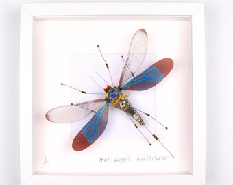 Blue & Black Damselfly Framed Wall Art | Recycled Sculpture