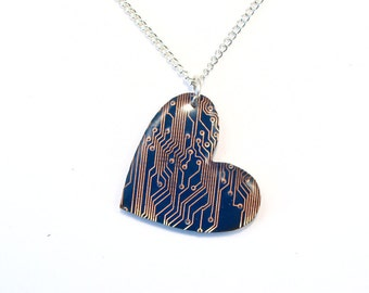 Circuit Board Necklace Blue Heart Pendant Recycled Jewelry PCB Silver Jewellery Geek Nerd Motherboard Computer Chip Gift for Her Techie