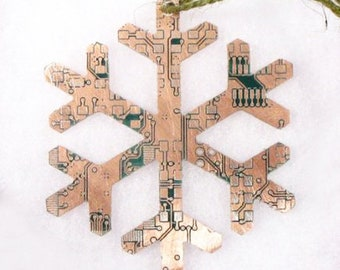 Copper Snowflake Circuit Board Christmas Tree Decoration
