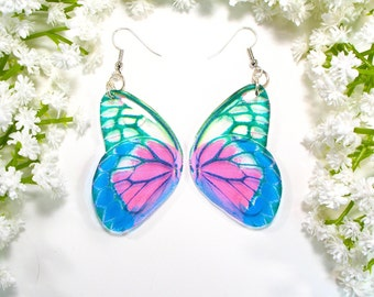 Blue and pink butterfly earrings, Christmas gift for sister, faux taxidermy, Inspired by nature, handmade earrings, unique present.