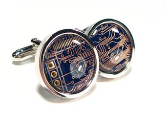 eco cufflinks etsycircuit board cufflinks, rhodium plated, steampunk cufflinks, men\u0027s gift, computer chip, electronic, accessory, eco, recycled, motherboard
