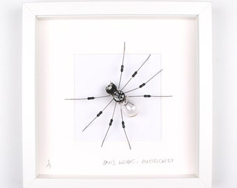 Light Bulb Spider Framed Wall Art | Recycled Sculpture