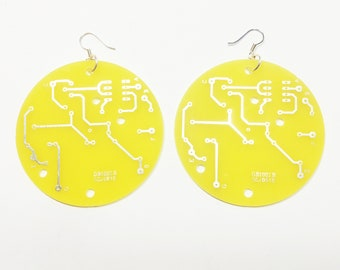 Large Round Yellow Recycled Circuit Board Earrings. Unique. Only one pair Available.