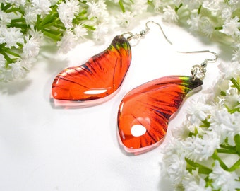 Red butterfly earrings, Christmas gift, red bug earrings, handmade jewellery, drop earrings, accessories for her,