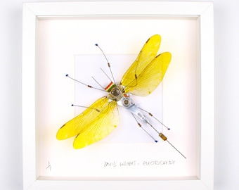 Yellow Dragonfly Framed Wall Art | Recycled Sculpture