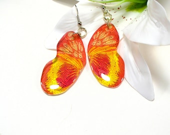 Orange butterfly earrings, circuit pattern, silver plated ear wires, resin butterfly, resin jewellery, bug jewellery, nature inspired.