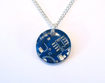 Circuit Board Necklace Pendant Recycled Jewelry PCB Round Silver Jewellery Green Geek Nerd Motherboard Computer Chip Gift for Her Techie