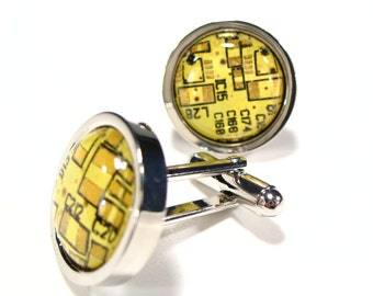 Circuit Board Cufflinks Man Present Yellow Round Geek Jewelry Christmas Gift For Him Electronic PCB Accessory Eco Recycled Motherboard
