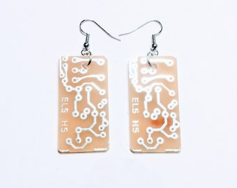 Rectangle White Recycled Circuit Board Earrings. Unique. Only one pair Available.