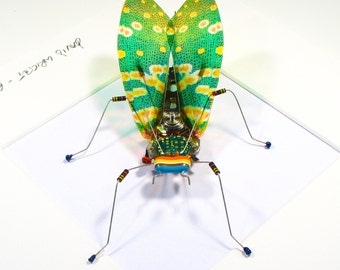 Green Cicada Framed Wall Art | Recycled Sculpture