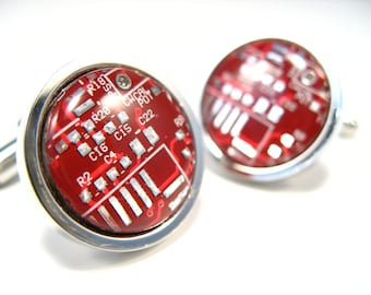 Rhodium Cufflinks  Gift For Him Circuit Board Cufflinks, Red Cufflinks Men's Gift PCB Cufflinks Male Accessory Recycled Cufflinks