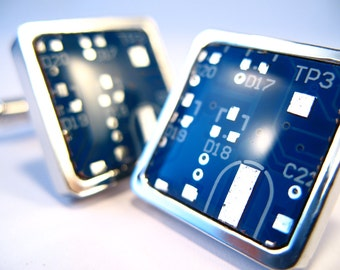 Groom Cufflinks  Gift For Him Electronic Gift Minimalist Cufflinks Formal Wear Suit Accessory PCB Cufflinks Chip Cufflinks Eco Gift