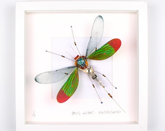 Green & Red Damselfly Framed Wall Art | Recycled Sculpture