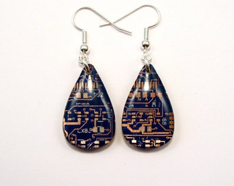 Circuit Board Earrings Blue Teardrop Recycled Jewelry PCB Techie Silver Jewellery Geek Motherboard Computer Chip Gift for Her Techie