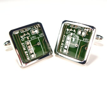 Dark Green Circuit Board Cufflinks, Geek Cufflinks, Christmas Gift For Him, Electronic, Accessory, Eco, Recycled, Motherboard.