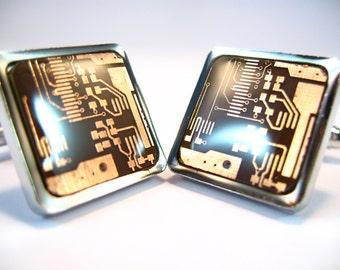 Copper Cufflinks Computer Cufflinks  Gift For Him Circuit Board Cufflinks Square Cufflinks Geek Cufflinks Men's Gift Man Accessory