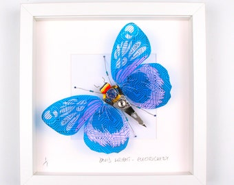 Blue Circuit Board Wing Butterfly Framed Wall Art | Recycled Sculpture