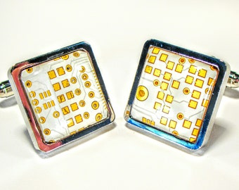 Circuit Board Cufflinks, Gold White,  Gift For Him Husband Gift, Computer, Electronic, PCB, Accessory, Eco, Recycled, Motherboard.