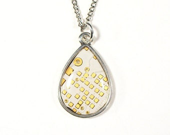 White & Gold Circuit Board Teardrop Necklace, Valentine's Gift, Circuit Board Jewelry, Computer Chip Necklace, Engineer Gift, Gift for Her.