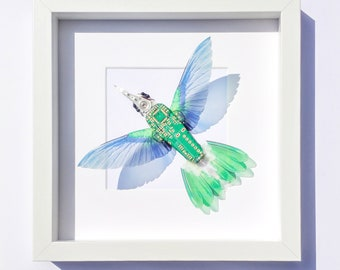 Framed Hummingbird Art Faux Taxidermy Wings Ornithology Gift Recycled Computer Art Made By Electrickery