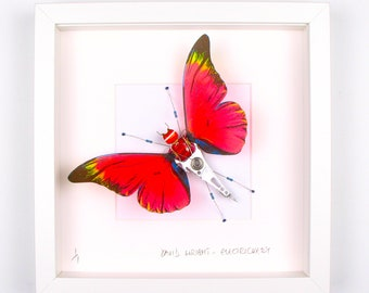 Red Butterfly Framed Wall Art | Recycled Sculpture