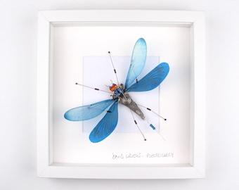 Blue Damselfly Framed Wall Art | Recycled Sculpture