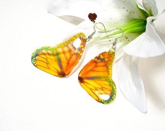 Monarch butterfly wings earrings, Inspired by nature, Christmas gift, bug earrings, handmade jewellery, drop earrings, accessories for her,