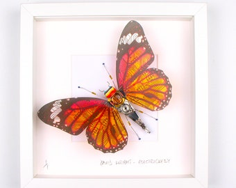 Orange Circuit Board Wing Butterfly Framed Wall Art | Recycled Sculpture